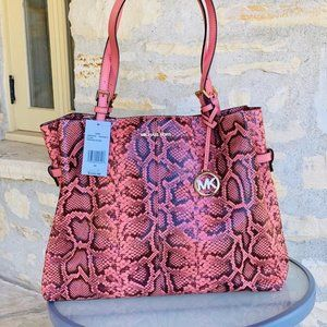NWT Michael Kors snake print embossed leather bag
